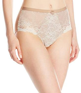 Wonderbra Women's Control Panty with Chantilly Lace, Black/Silver