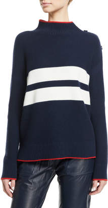 Loro Piana Striped Button-Shoulder Long-Sleeve Striped Cashmere Sweater