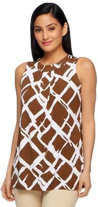 Susan Graver Liquid Knit Bateau Neck Printed Tank w/ Pleat Detail