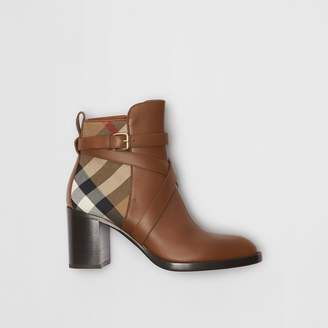 Burberry House Check and Leather Ankle Boots