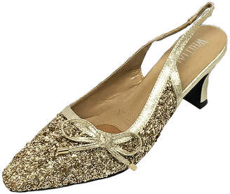 Whittall & Shon Womens Bugle Bead Sling Back Closed Toe Cone Heel Pumps