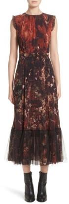 Women's Fuzzi Print Tulle Plisse Hem Midi Dress $795 thestylecure.com