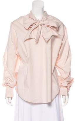 MM6 MAISON MARGIELA Mock Neck Long Sleeve Blouse