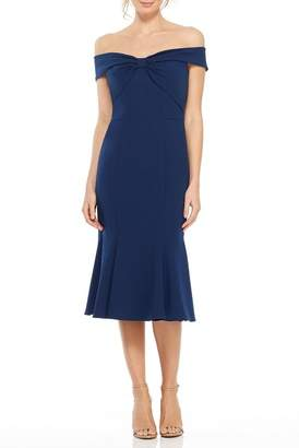 Gal Meets Glam Tyler Off-the-Shoulder Bow Front Dress