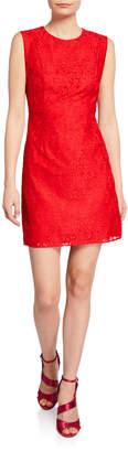 Diane von Furstenberg Rose Lace Mini Sheath Dress