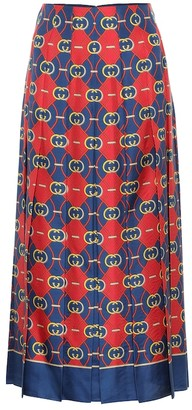 Gucci Printed pleated silk midi skirt