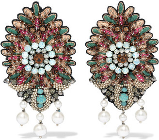 Etro - Bead, Crystal And Faux Pearl Clip Earrings - Mint $420 thestylecure.com