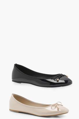boohoo Two Pack Bow Ballet Pumps