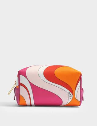 Emilio Pucci Capri Mini Trousse Bag in Orange Printed Nylon