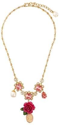 Dolce & Gabbana cameo crystal rose necklace