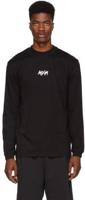 MSGM Black Graffiti Logo Mock Neck T-Shirt