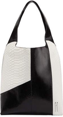 Hayward Grand Shopper Python Tote Bag, Black/White