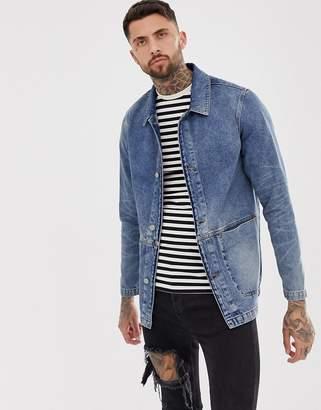 Asos Design DESIGN denim worker jacket in mid wash