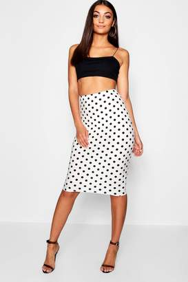 boohoo Tall Polka Dot Midi Skirt