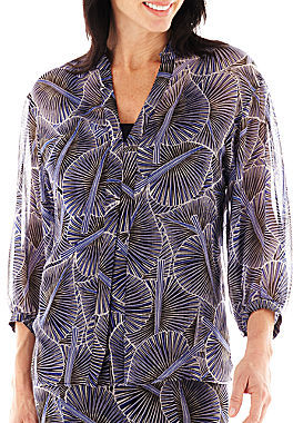 JCPenney Lark Lane Geometric Chic Leaf Print Button-Front Blouse with Cami