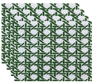 Simply Daisy, 18 x 14 Inch Rattan Geometric Geometric Print Placemat (set of 4), Green