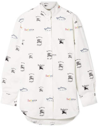 Burberry Printed Cotton-blend Poplin Shirt - White