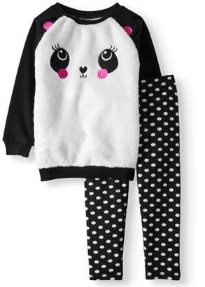 FOREVER ME Fur Front Critter French Terry Sweatshirt & Leggings, 2-Piece Outfit Set (Toddler Girls)