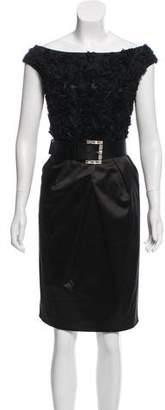 St. John Belt-Accented Midi Dress