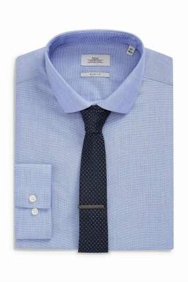 Next Mens Blue Slim Fit Shirt With Tie And Tie Clip Set