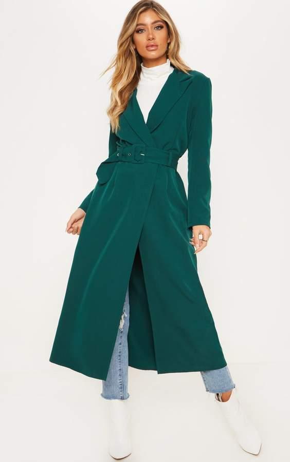 Emerald Green Woven Collar Detail Buckle Front Coat