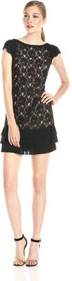 Jessica Simpson Women's Tiered-Hem Lace Dress, Black/Nude