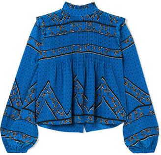 Ganni Pintucked Printed Silk Crepe De Chine Blouse - Cobalt blue