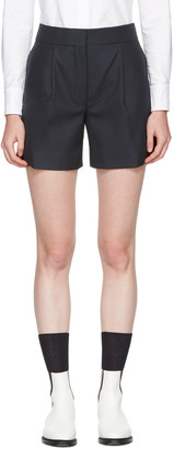 Thom Browne Navy Single Pleat Mini Shorts $1,050 thestylecure.com