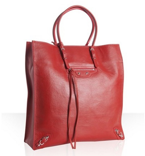 Balenciaga rouge leather 'Papier A4' large tote