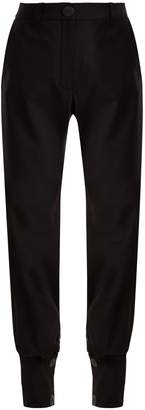 Buttoned-cuff high-waisted trousers