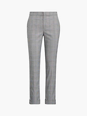 Ralph Lauren Polo Artine Glen Plaid Slim Trousers, Black Cream fbe9ba2dca1