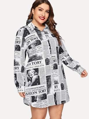 Shein Plus Newspaper Print Curved Hem Shirt Dress