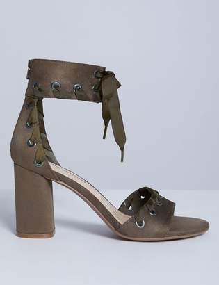 Grommet Laced Heel Sandal