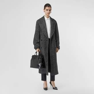 Burberry Herringbone Wool Silk Blend Double-breasted Coat , Size: 06, Black