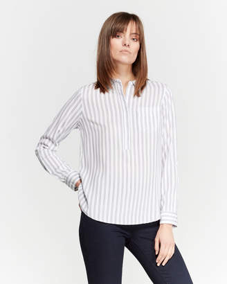 04880b84aa7 Alexander Jordan Striped Hi-Low Popover Shirt