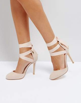 Coco Wren Tie Up Round Toe Point High Heels