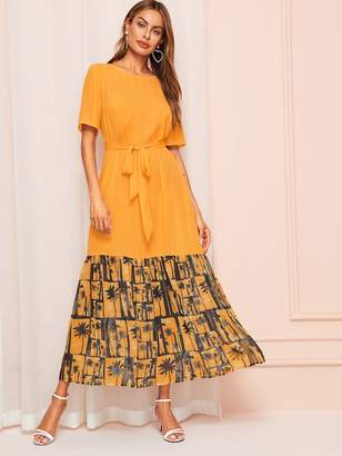 Shein Coconut Tree Print Belted Dress