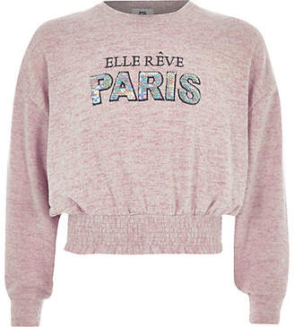 River Island Girls Pink 'paris' cropped sweatshirt