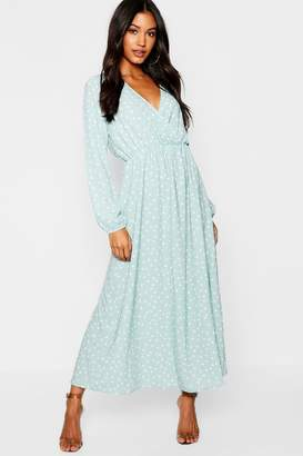 boohoo Wrap Spot Maxi Dress With Split