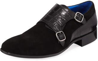 Maceoo Men's Suede Monk Strap Dress Shoes
