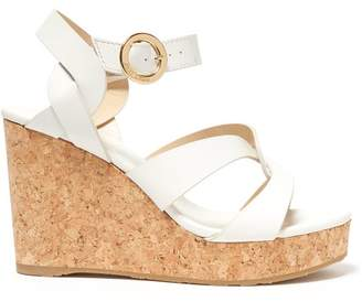 Jimmy Choo Aleili 100 Wedge Leather Sandals - Womens - White