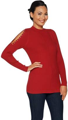 Belle By Kim Gravel Belle by Kim Gravel Mock Neck Cold Shoulder Sweater