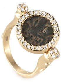 Coomi Antiquity 20k Flip Coin Ring with Diamonds, Size 7.25