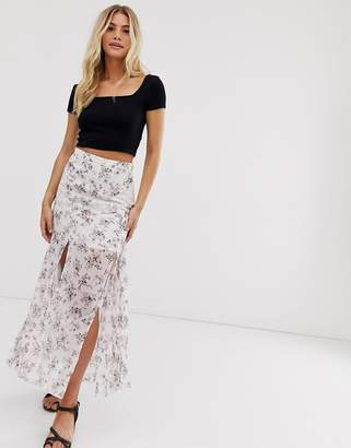Asos Design DESIGN pleated side midi skirt with lace insert in ditsy floral