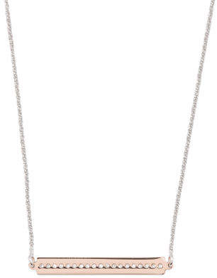 Made In Italy Two Tone Sterling Silver Cz Bar Necklace