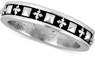 King Baby Studio Men's Stud & Cross Stack Ring in Sterling Silver