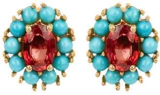 Ileana Makri - Sapphire, Turquoise & Yellow Gold Earrings - Womens - Yellow Gold