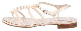 Chanel Faux Pearl Leather Sandals