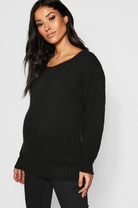 boohoo Maternity Slash Neck Knitted Jumper