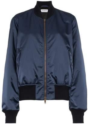Balenciaga rear logo embroidered bomber jacket